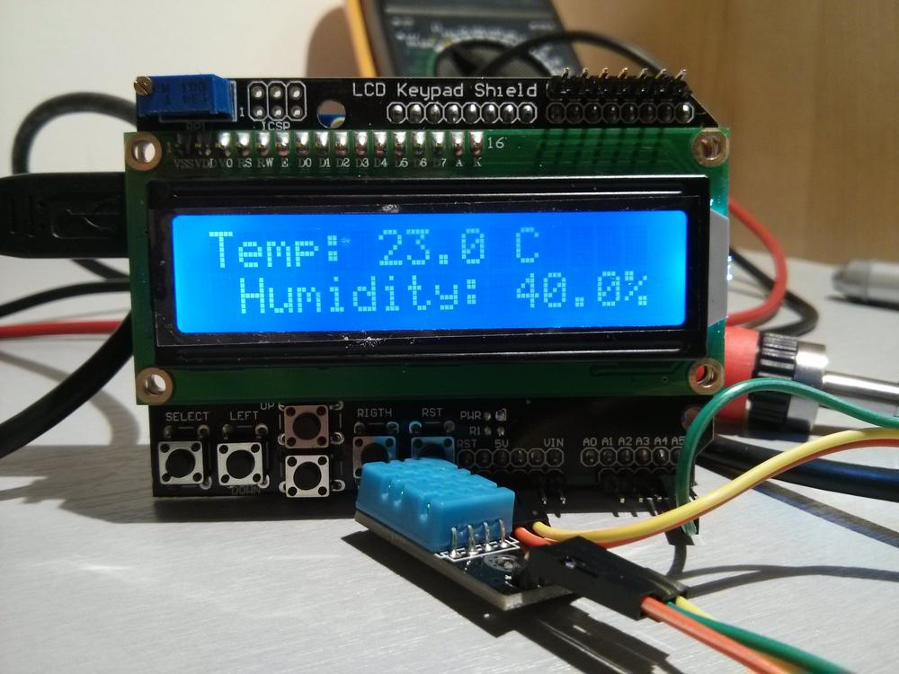 Arduino DHT11 LCD testowe pomiary wilgotności