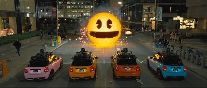 Inky, Blinky, Clyde and Pinky take on Pac-Man in Columbia Pictures' PIXELS.