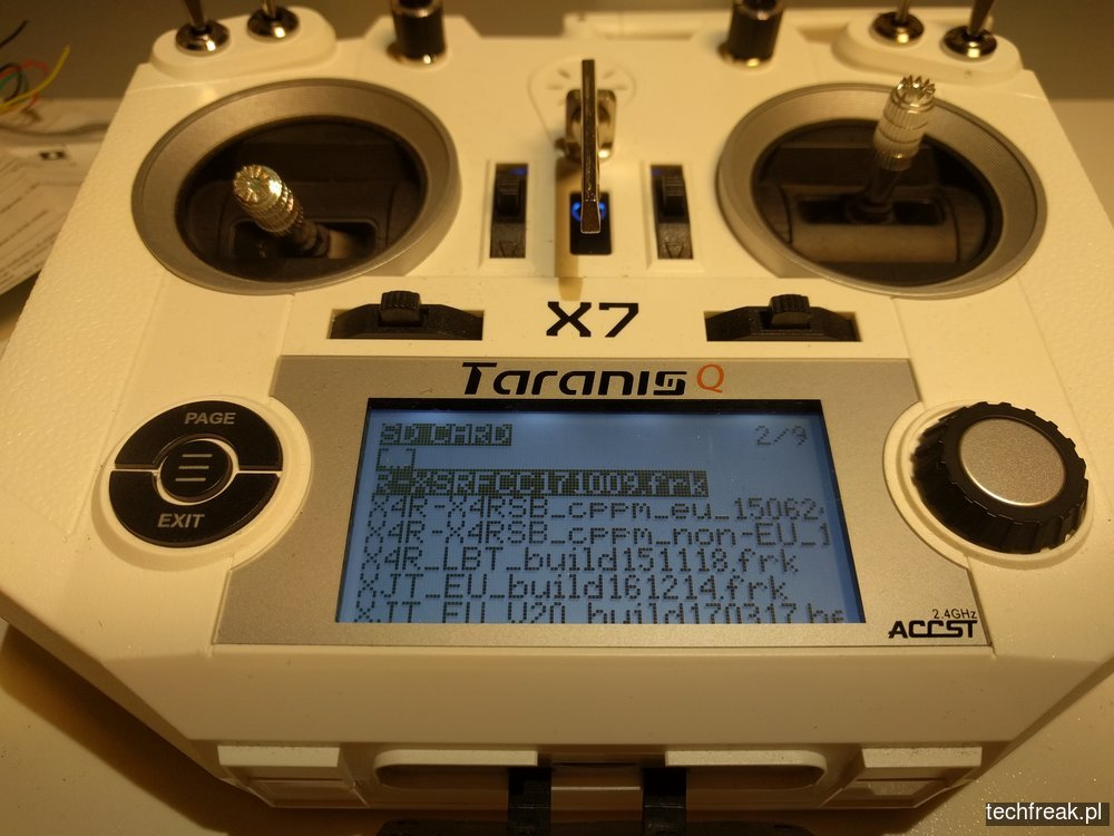 R-XSR aktualizacja firmware przez Taranis QX7 - techfreak blog